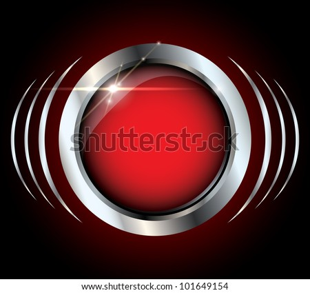 Red metallic silver glossy vector button with light effects on black background and copyspace inside the button - stock vector