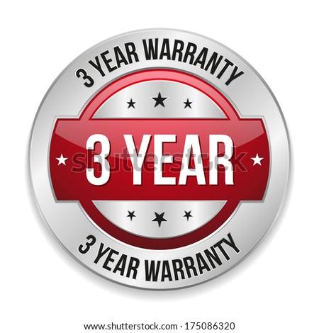 Red metallic three year warranty button - stock vector