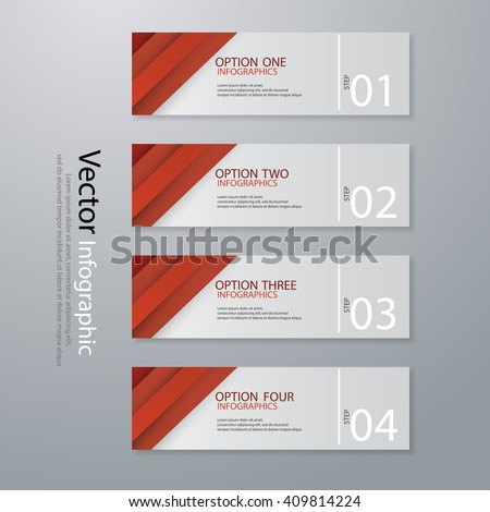 Red Minimal infographics. Vector illustration