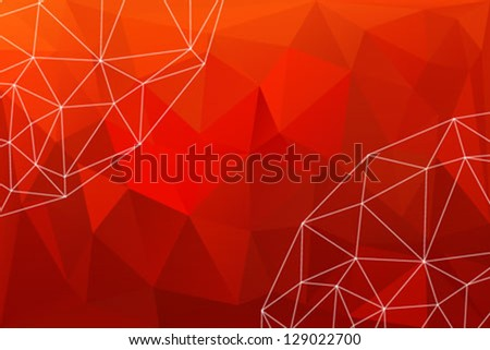 red minimalist background with polygons like wrinkled paper or broken glass and white lines in spherical shapes. texture for business brochure, corporate website background,web banner, blog header - stock vector