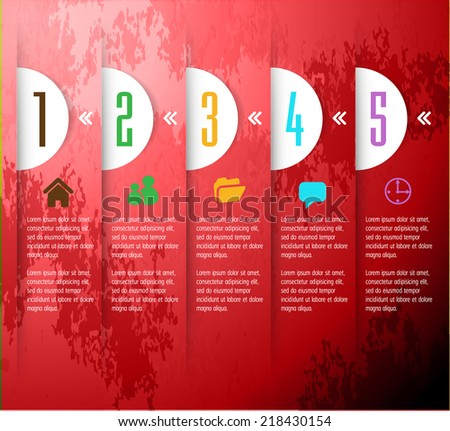 red modern design old paper text box template for website graphic technology and internet , labels, numbers.  - stock vector