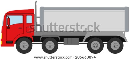 red modern isolated truck on white background - stock vector