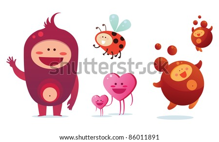 Red monsters set - stock vector