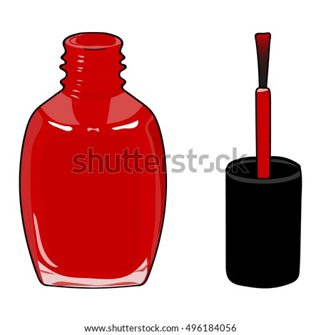Red Nail Polish In Open Flagon And Drop Beside Pop Art Hand Drawing