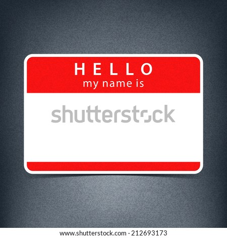 Red Name Tag Blank Sticker HELLO My Is Rounded Rectangular Badge With Black Drop