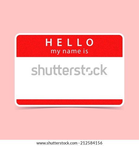 Red name tag blank sticker hello my name is rounded rectangular badge with gray drop