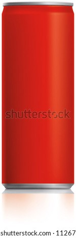 Red narrow thin can vector visual 250 ml, ideal for cola, soft drinks, soda, fizzy pop, lager, alcohol, lemonade, energy drink, juice, etc. Drawn with mesh tool. Fully adjustable & scalable
