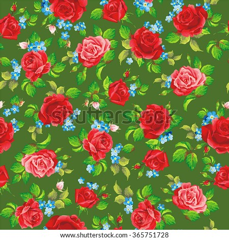 Red natural roses seamless background, vector illustration - stock vector