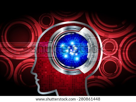 red Neon human head. CPU. blue Circuit board. Vector illustration. Abstract Technology background for computer graphic website internet and business. infographics. - stock vector