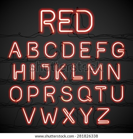 Red neon light alphabet with cable. Vector. - stock vector