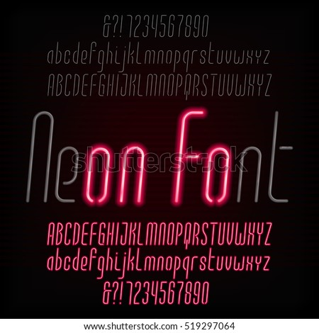 Red neon typeface. Light turn on and off. Modern oblique alphabet. Uppercase and lowercase letters and numbers. Vector font for your design.