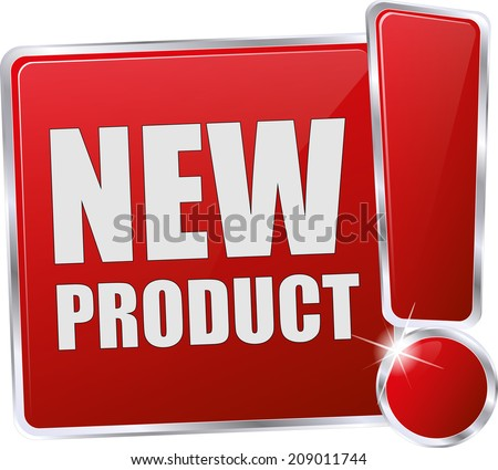 red new product button - stock vector