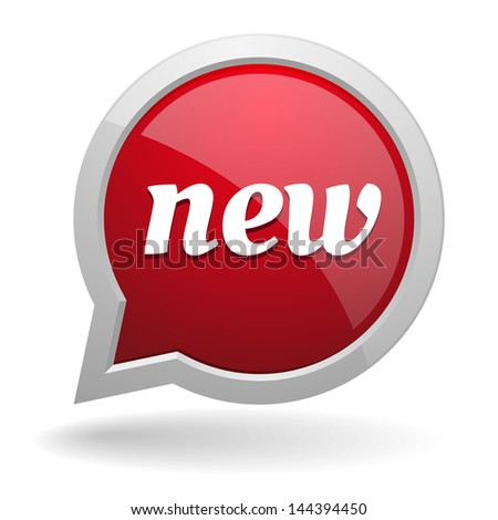 Red new speech bubble - stock vector