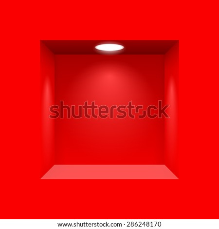 Red niche for presentations with illuminated  light lamp - stock vector