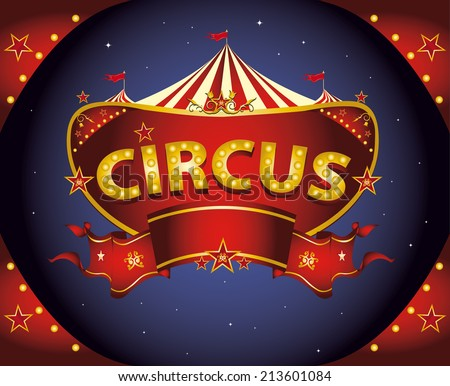 Red night circus sign. A circus sign in the night for your entertainment - stock vector