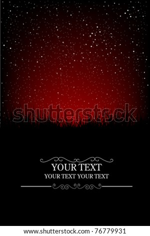 Red night sky card - stock vector