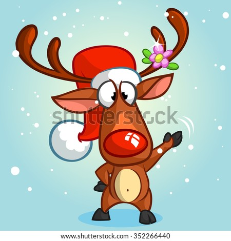 Red nose reindeer rudolph and cute elf. Christmas vector characters - stock vector