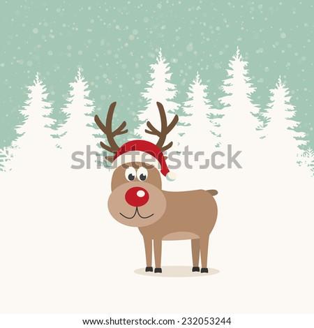 red nose reindeer santa hat winter background - stock vector