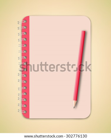 Red Notebook with Pencil Vector - stock vector