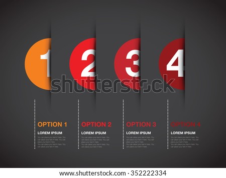 red numbered option background - stock vector