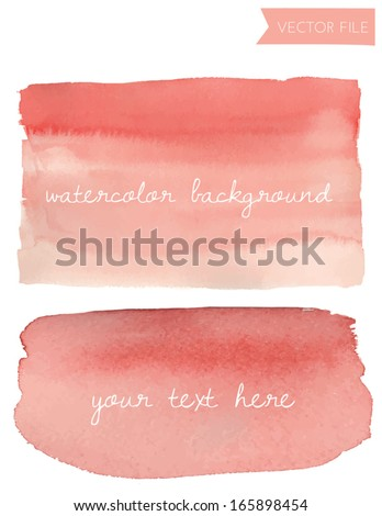 Red Ombre Watercolor Vector Background - stock vector