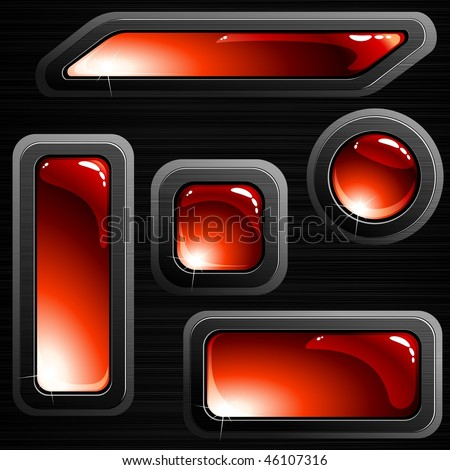 Red on black brushed steel banners and buttons (EPS10); JPG version also available - stock vector