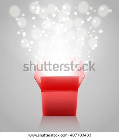 red open box with light rays on grey background. vector illustration