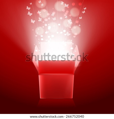 red open box with rays and butterflies - stock vector