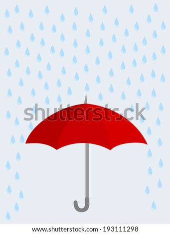 Red opened umbrella with heavy fall rain in the gray sky. Elegant design, vector art image illustration. isolated on background - stock vector