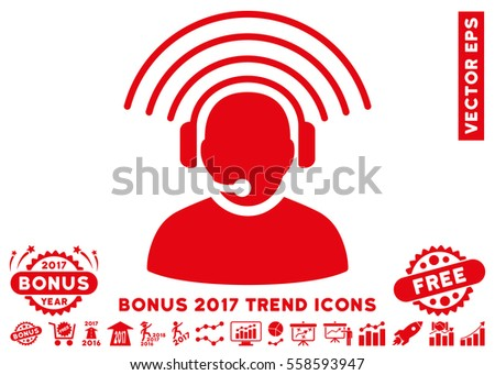 Red Operator Radio Signal icon with bonus 2017 year trend elements. Vector illustration style is flat iconic symbols, white background.