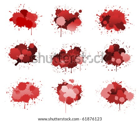 Red or pink ink blots isolated on white. Jpeg version also available in gallery - stock vector