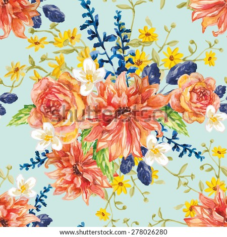 Red orange and yellow flowers with blue leaves and floral elements on the light green background. Watercolor seamless pattern with summer garden and wild flowers. Dahlias, roses and daisies. - stock vector