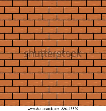 Red - orange brick wall. Seamless vector illustration background - texture pattern for continuous replicate, eps 8. - stock vector