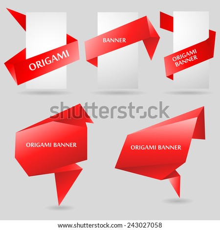 red origami banners with blank cards - stock vector