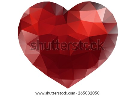 Red origami heart on white background. Vector Illustration. Abstract polygonal heart. Love symbol. Low-poly colorful style. Romantic background for Valentines day. Eps 10 - stock vector