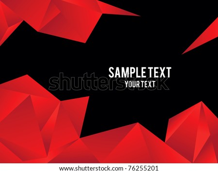 Red origami vector background - stock vector