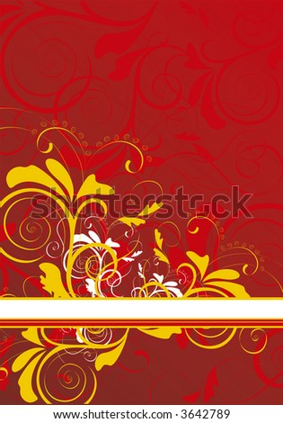 red ornamental background with banner - vector