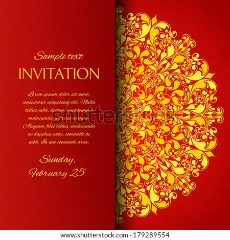Red ornamental invitation card with floral pattern design element vector illustration - stock vector