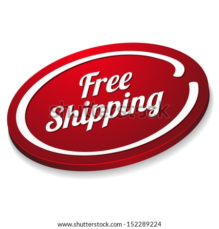 Red oval free shipping button - stock vector