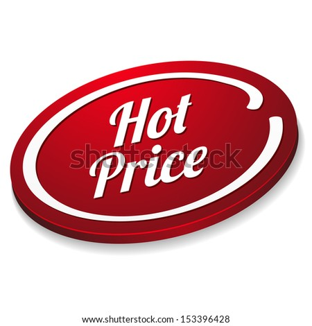 Red oval hot price button - stock vector