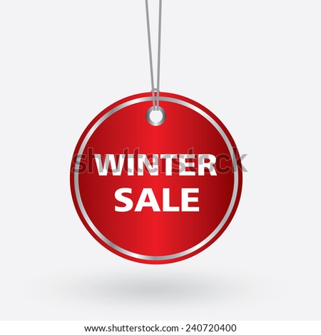 red oval winter sale tag. vector illustration  - stock vector