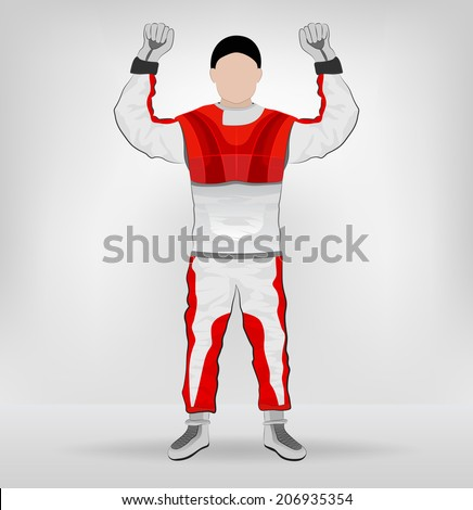 red overall standing racer hands in air vector illustration - stock vector