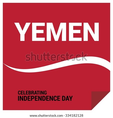 Red Page Curl background. Vector Yemen Independence Day Celebrating 29 November Celebration Card. Illustration