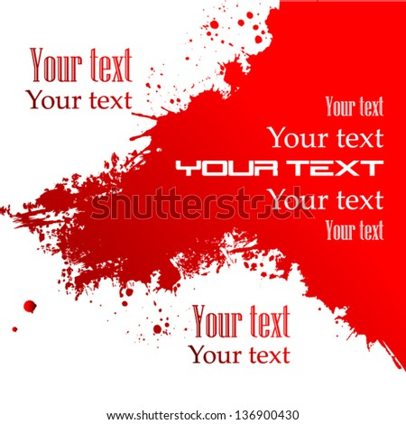 red paint spots with text - stock vector