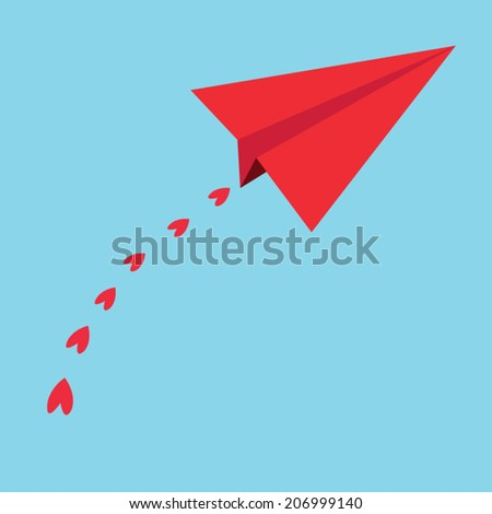 Red paper airplanes. heart in the blue sky - vector illustration - stock vector
