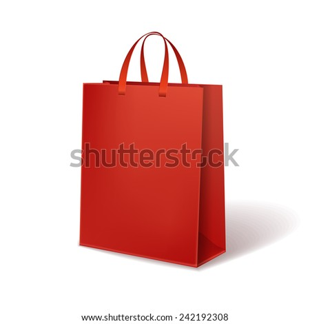 red paper bag isolated on white background - stock vector