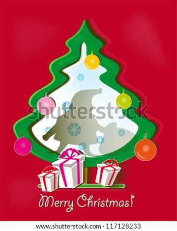 Red paper Christmas background with a shadow of Santa Claus and paper Christmas tree, gifts