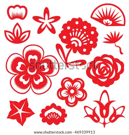 Red paper cut flowers china vector stock vector hd royalty free red paper cut flowers china vector set design mightylinksfo Choice Image