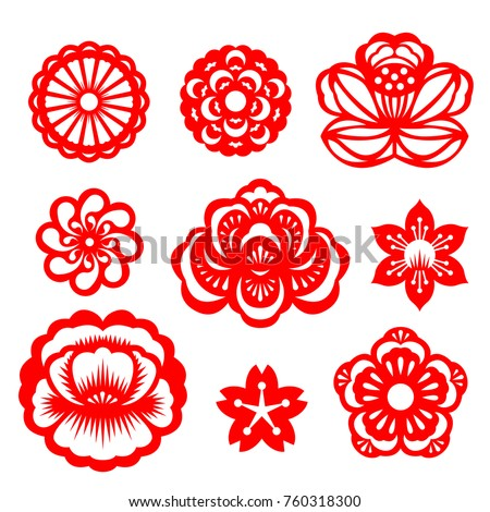 Red paper cut flowers china vector stock vector 760318300 shutterstock red paper cut flowers china vector set design mightylinksfo