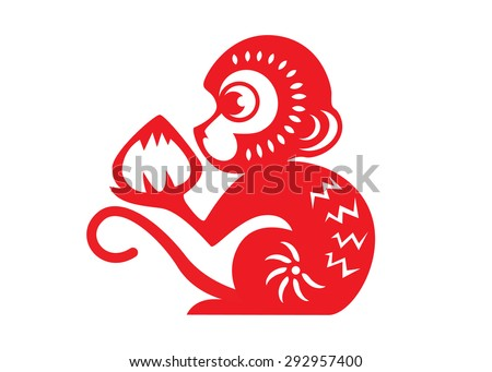 Red paper cut monkey zodiac symbol (monkey holding peach) - stock vector